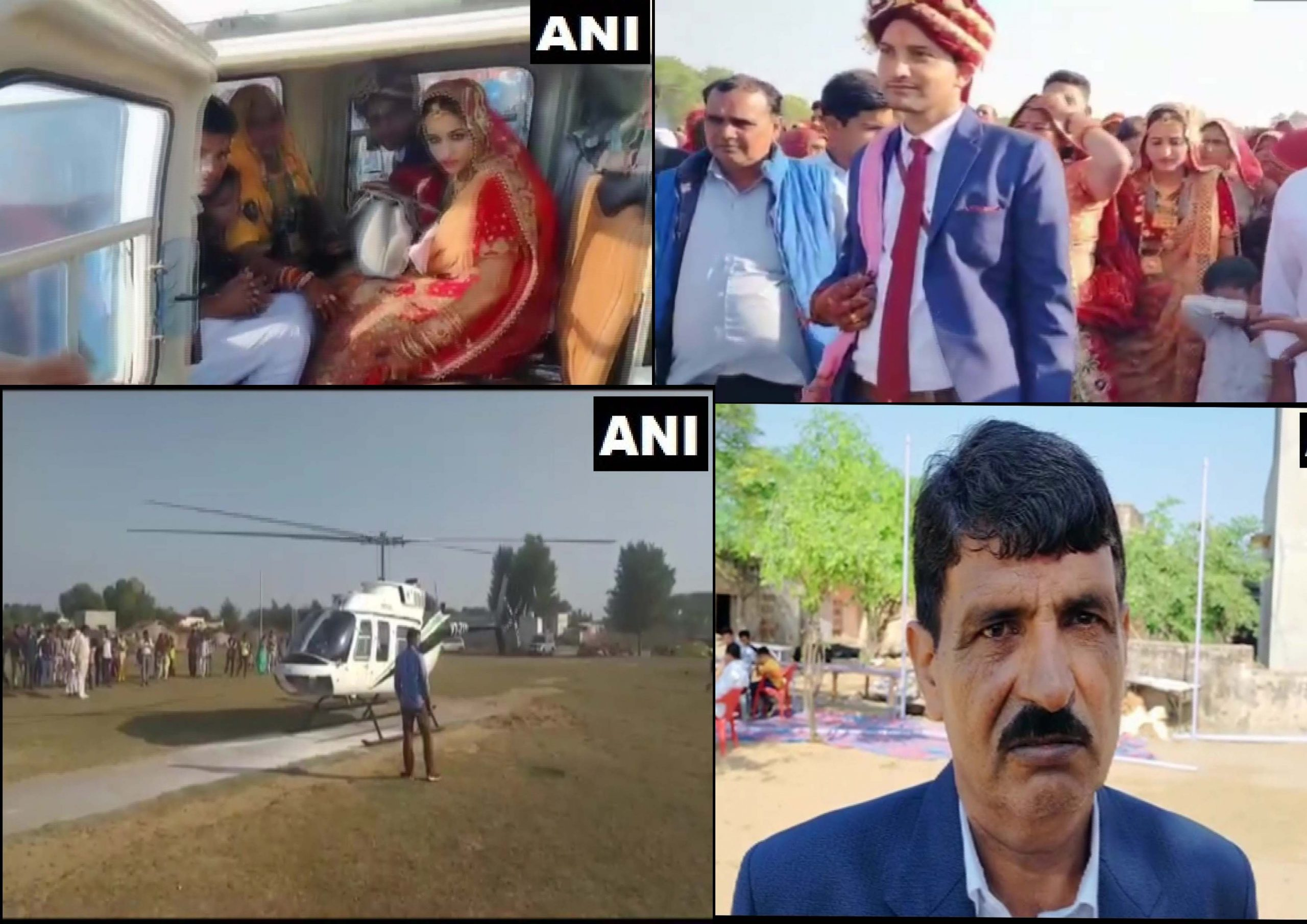 Bride leaves after marriage on a helicopter in Jhunjhunu